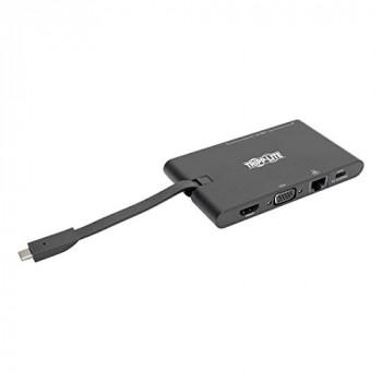 Tripp Lite U442-DOCK3-B USB-C (Type-C) Laptop Docking Station with HDMI, VGA, GbE, USB-A, PD-Charging 3.0, USB 3.1 Gen 1, Thunderbolt 3 Compatible, 4K x 2K @ 30 Hz, Black