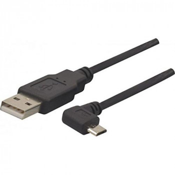 Connect 1 m USB 2.0 A to 5-Pin Micro B Angled Cord - Black