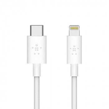 Belkin Boost Charge USB-C Cable with Lightning Connector (MFi-Certified Cable, for iPhone, MacBook, iPad, More), 1.2 m, iPhone Fast Charge 50% in 30 minutes - White