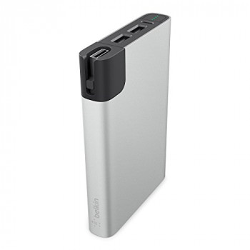 Belkin 10 000mAh Premium Battery Pack 4.8amp Shared Dual USB Ports with Lightning & Micro USB Cable - Silver