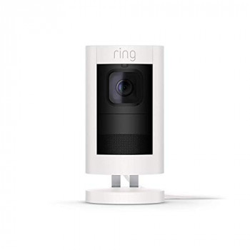 All-new Ring Stick Up Cam Wired HD Security Camera with Two-Way Talk, White, Works with Alexa