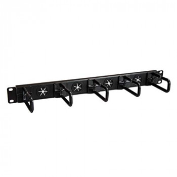StarTech.com Server Rack Cable Management, with Holes, 1U, D-Ring Hooks, Horizontal, Cable Organizer, Cord Management