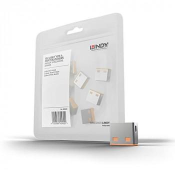 LINDY USB Port Blocker (without key) - Pack of 10 Colour Code: Orange