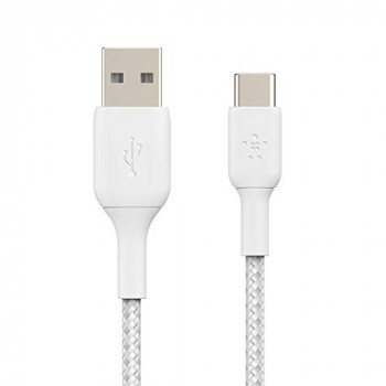 Belkin Braided USB-C Cable (Boost Charge USB-C to USB Cable, USB Type-C Cable for Note10, S10, Pixel 4, iPad Pro, Nintendo Switch and more) 2m, White ,CAB002bt2MWH