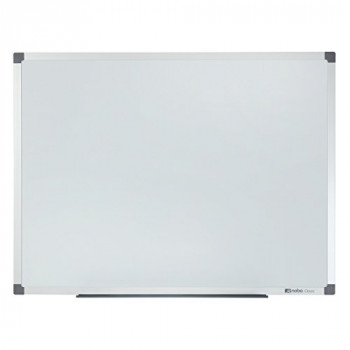 Nobo  Classic Steel Magnetic Dry Wipe Whiteboard, 600 x 450 mm, Aluminium Trim, Includes Marker and Fitting Kit, White, 1902641