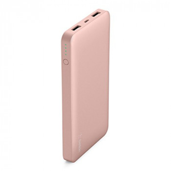 Belkin Pocket Power Bank 10000 mAh Fast Charger (Certified Safety) for iPhone X/8/7, iPad, Samsung Galaxy S9/S8 /S7, Rose Gold