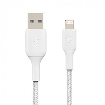 Belkin Braided Lightning Cable (Boost Charge Lightning to USB Cable for iPhone, iPad, AirPods) MFi-Certified iPhone Charging Cable, Braided Lightning Cable (2m, White)