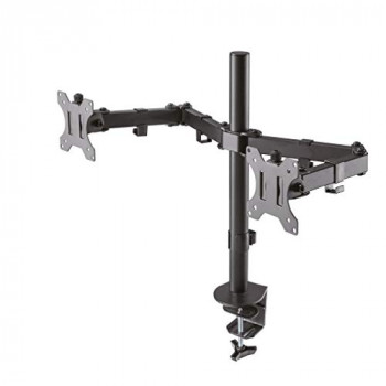 "Newstar FPMA-D550DBLACK Full Motion Dual Desk Mount (clamp & grommet) for two 10-27"" Monitor Screens, Height Adjustable - Black"