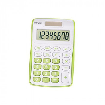 Genie 12496 Compact Pocket Calculator with 8 Digit Display - Green