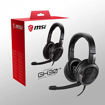MSI Immerse GH30 V2 Foldable Gaming Headset with Microphone, Lightweight, Black, 173 x 86 x 204