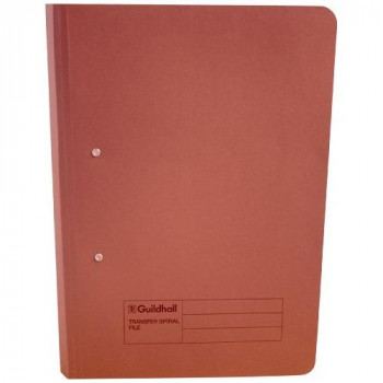 Guildhall 285 gsm Foolscap Spiral File - Red (Pack of 25)