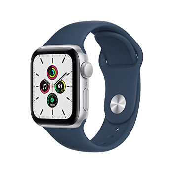 2021 Apple Watch SE (GPS, 40mm) - Silver Aluminium Case with Abyss Blue Sport Band - Regular