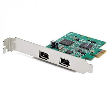StarTech.com 2 Port PCI Express FireWire Card - 1394a Firewire - TI TSB82AA2 Chipset - Windows & Mac Compatible (PEX1394A2V2),Black