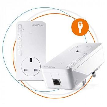 Devolo Magic 2 LAN Ultimate Powerline Starter Kit Up to 2400 Mbps for Your Powerline Home Network, 1 x Gigabit LAN Port, Pass-Thru Socket, Ideal for Online Gaming, 4k/8k and UHD Streaming