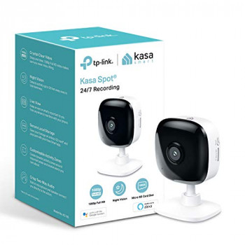 TP-Link Kasa Smart Security Camera, Baby Monitor, Indoor CCTV, No Hub Required, Works with Alexa(Echo Spot/Show&Fire TV), Google Home/Chromecast, 1080p, 2-Way Audio with Night Vision(KC105)