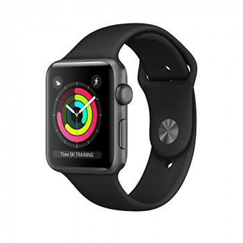 Apple 190198806789 42 mm  Series 3 Watch (GPS) with Space Grey Aluminium Case - Black Sport Band