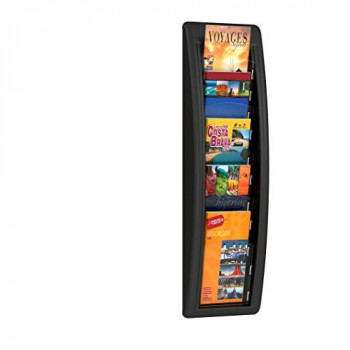 Fast Paper Quick Fit Literature Holder Wall-mount 5 x 1/3xA4 Pocket W181xD95xH650mm Black Ref 4062.01