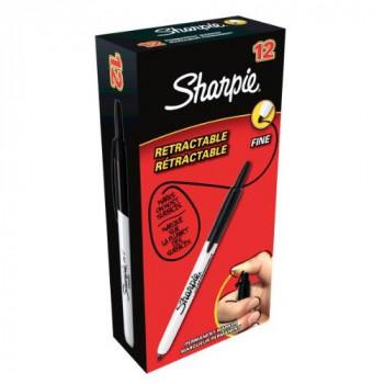 Sharpie Retractable Permanent Marker Fine Tip - Black (Box of 12)
