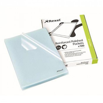 Rexel Cut Flush Folders A4 Clear (100 Pack)