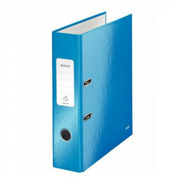 Leitz 180Deg WOW Laminated 80mm Lever Arch File Metallic Blue Pack of 10