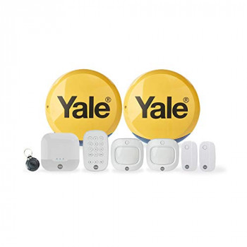 Yale IA-330 Sync Smart Home Security Alarm, 9 Piece Kit, Self Monitored, No Contract, Wireless, 200m Range, Featuring Window, Door And Movement PIR Sensors, External & Internal Siren, Works With Alexa