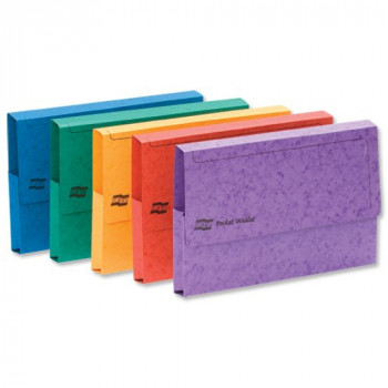 Europa Foolscap Half Flap Document Wallet, 300 Micron, Capacity 32 mm - Assorted Colours, Pack of 25