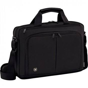 """Wenger 601066 SOURCE 16"""" Laptop Briefcase , Padded laptop compartment with iPad/Tablet / eReader Pocket in Black {10 Litres}"""