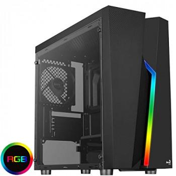 Aerocool Bolt Mini MATX RGB PC Gaming Case, MATX & Mini-ITX, Full Tempered Glass Side Panel, RGB LED Strip Included, 13 Lighting Modes, 1 x 120mm Black Fan Included, High Performance MATX Case | Black