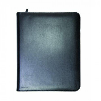 Monolith A4 Leather Conference Folder Zipped - Black