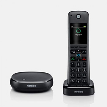 Motorola Axh01 Cordless Phone with Alexa Built-In and Call Block for landline Calls, Alexa calling and Skype Calls and Voice Control of All Alexa Enabled Smart Home Accessories - 1 Cordless Handset