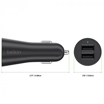 Belkin Boost-Up 2-Port Fast Charging 2 x 2.4 A/24 W Universal USB-A Car Charger - Black