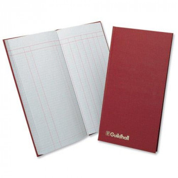 Guildhall 81236 Petty Cash Book Ruled 1 Debit 7 Credit 80 Pages 298 x 152 mm, Ref T272 - Red