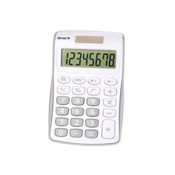 Genie 12494 Compact Pocket Calculator with 8 Digit Display - Silver