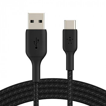 Belkin Braided USB-C Cable (Boost Charge USB-C to USB Cable, USB Type-C Cable for Note10, S10, Pixel 4, iPad Pro, Nintendo Switch and more) 3m, Black