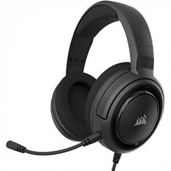Corsair HS35 Stereo Gaming Headset, Custom 50 mm Neodymium Speakers, Detachable Unidirectional Microphone, Lightweight Build with PC, Xbox One, PS4, Nintendo Switch and Mobile Compatibility, Carbon