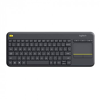 Logitech K400 Plus Wireless Livingroom Keyboard with Touchpad for Home Theatre PC Connected to TV, Customizable Multi-Media Keys, Windows, Android, Laptop/Tablet, QWERTY Spanish Layout - Black