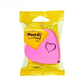 Post-it 76x76 mm Heart Shaped Cube Notes - Pink