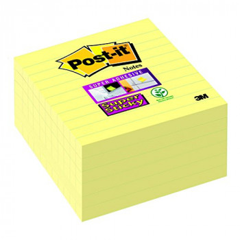 Post-it 101 x 101 mm Super Sticky Lined Notes - Canary yellow (Pack of 6)