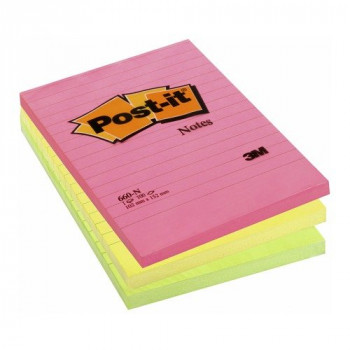 3M Post-it Sticky Notes, 152 x 102 mm - Multi-Coloured, Pack of 6 Pads (100 Sheets per Pad)
