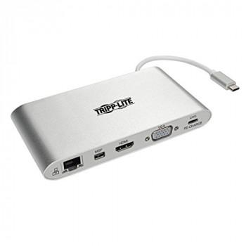 Tripp Lite U442-DOCK1 USB-C (Type-C) Docking Station with HDMI, VGA, mDP, USB-A, Gb Ethernet, SD, 3.5 mm and PD Charging, USB 3.1 Gen 1, Thunderbolt 3 Compatible, 4K x 2K @ 30 Hz