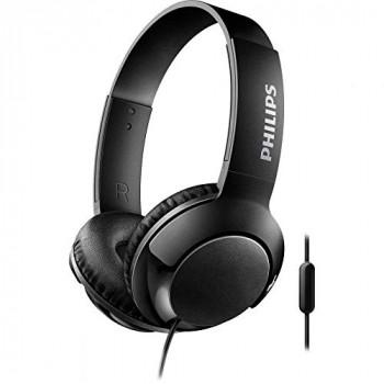 Philips SHL3075BK BASS+ On-Ear Headphones with Mic (Sound Isolation, Flat Folding) - Black