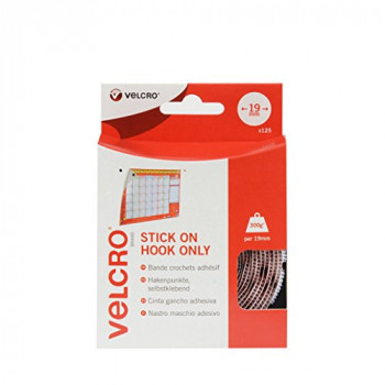 VELCRO Brand - Stick On Fasteners - Hook Side Only Perfect for Home or Office 19mm Coins - Hook Side Only White Pack of 125