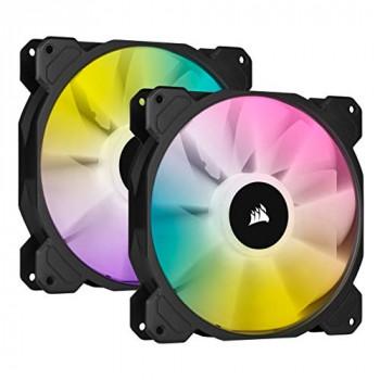 Corsair iCUE SP140 RGB ELITE Performance 140 mm PWM Dual Fan Kit with iCUE Lighting Node CORE (CORSAIR AirGuide Technology, Eight Addressable RGB LEDs, Low-Noise 18 dBA, Up to 1,200 RPM) Black