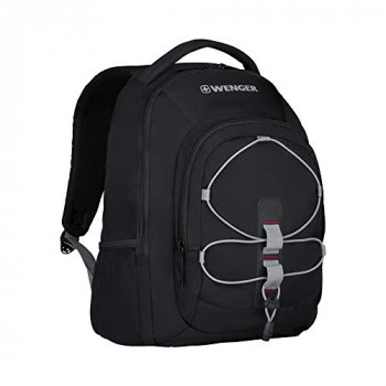 """Wenger 610205 Mars 16"""" Backpack, Padded Laptop Compartment with Front Cording for Holding Accessories in Black {26 litres}"""