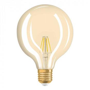 OSRAM 4052899962071 Clear Warm Classic Ball Shape Retro Design Filament Style Vintage 1906 LED Lamp, Glass/Plastic, White, E27, 4 W, 2400 k