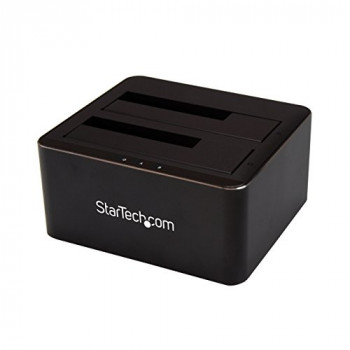 "StarTech.com Dual Bay SATA HDD Docking Station - for 2 x 2.5 / 3.5"" SATA SSD / HDD - Hot Swap - Hard Drive Docking Station - SSD Dock"