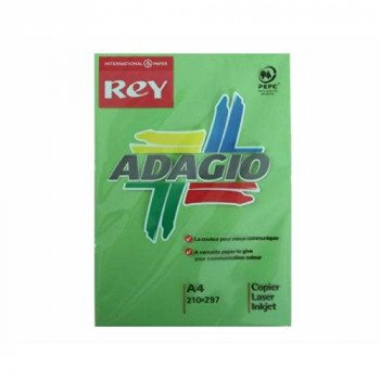 Adagio Rey Ream of Paper Bright Coloured A4 80gsm 500 Sheets - Color: Deep Green