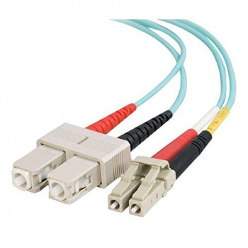 C2G 1m LC-SC 10Gb 50/125 OM3 Duplex Multimode PVC Fibre Optic Cable (LSZH) - Aqua
