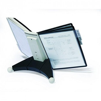 Durable 563222 Sherpa Desk Display Unit Complete 10 Index Tabs with 5 Black and 5 Grey Panels Ref 5632/22