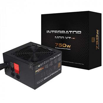 AeroCool Integrator Mod Xt 750W Power Supply, Semi-Modular, 80 Plus Bronze, Up to 85% Efficiency, 12 cm Black Fan, For Gamers & System Integrators - Black